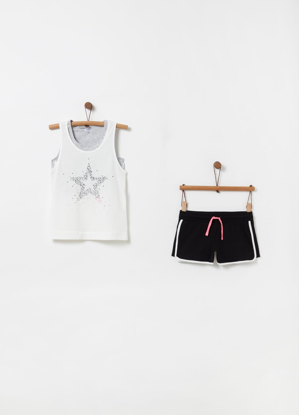 Vets top and shorts jogging set with stars