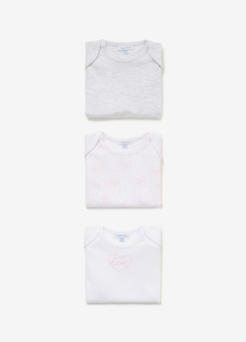 Three-pack cotton solid colour and hearts bodysuits
