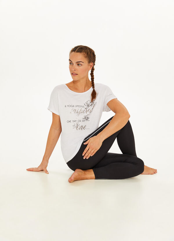 Stretch T-shirt with lettering print