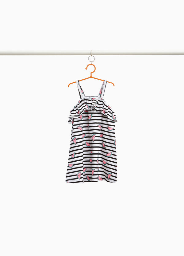 Striped 100% cotton dress with flounce