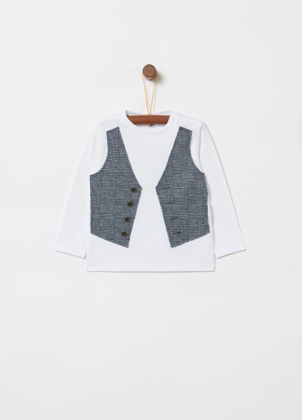 Organic cotton T-shirt with gilet insert