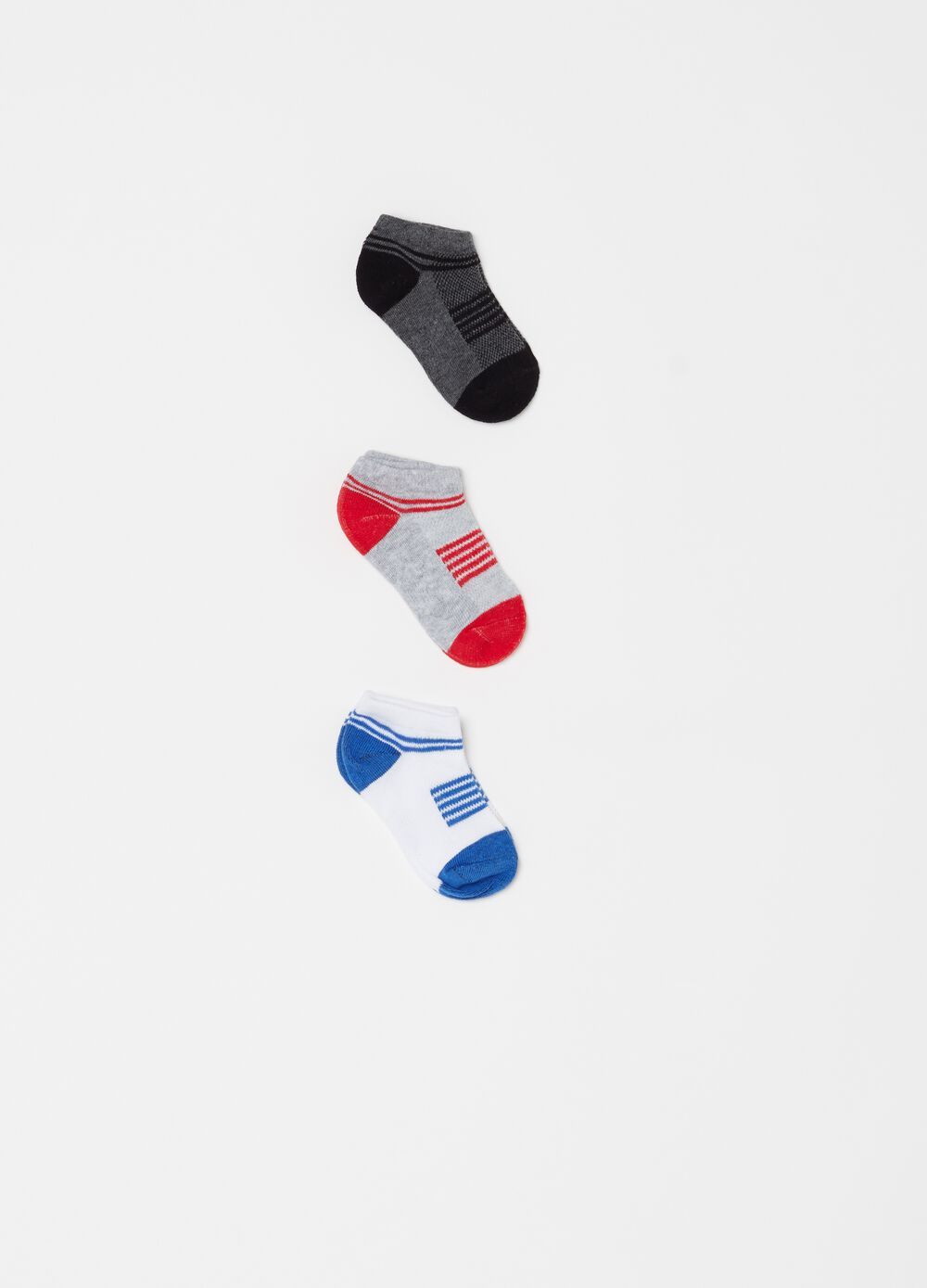 Three-pair pack stretch shoe liners with stripes