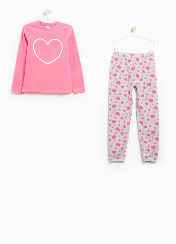 Heart patterned and printed fleece pyjamas | OVS