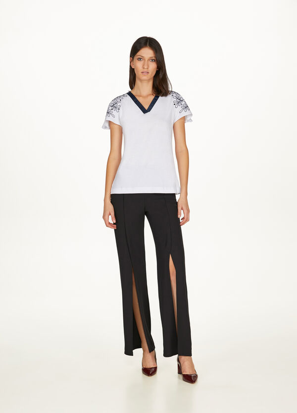 Cotton modal T-shirt with embroidery