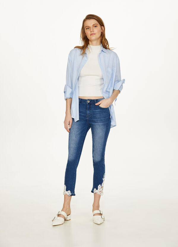 Jeans slim fit crop stretch con pizzo
