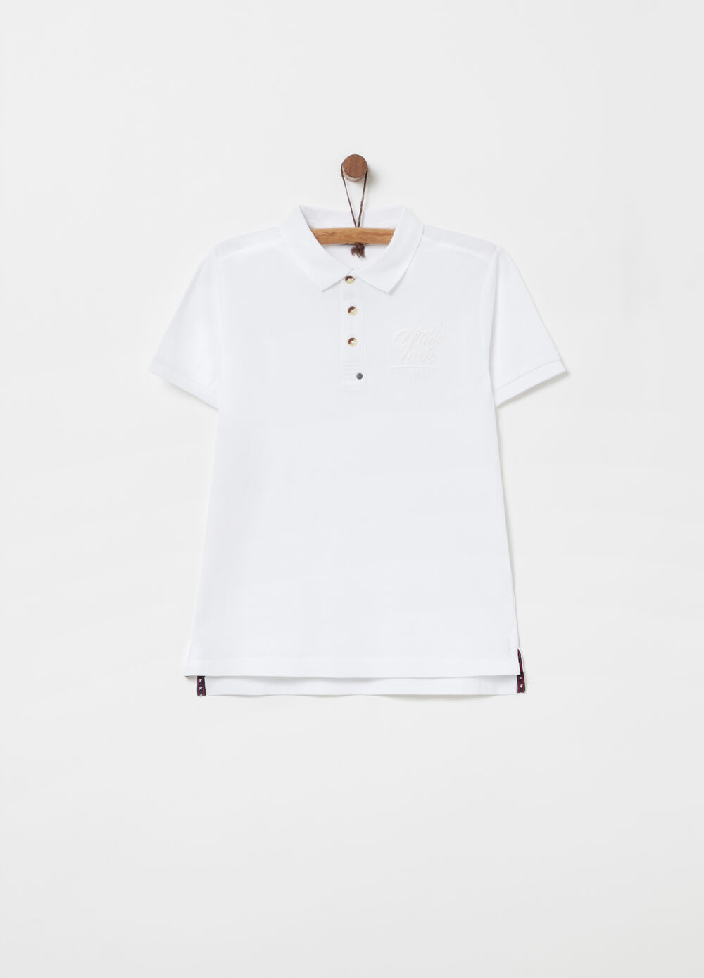 Piquet polo shirt with embroidery over the heart
