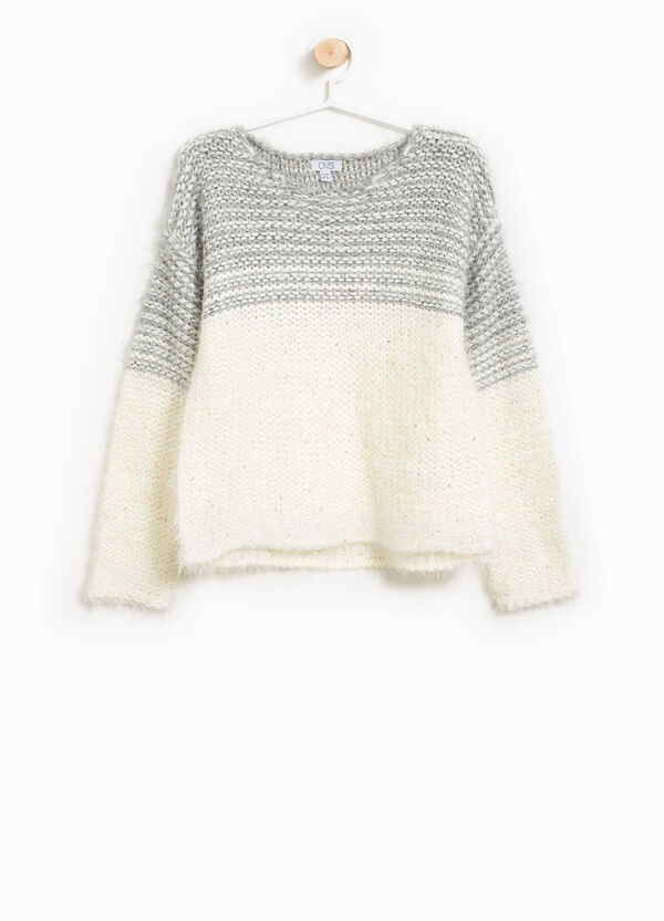 Two-tone wool pullover with sequins | OVS