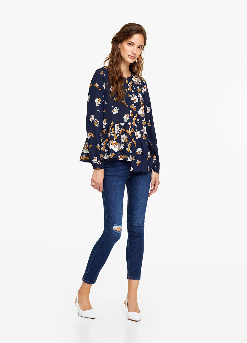 Floral patterned blouse with flounce