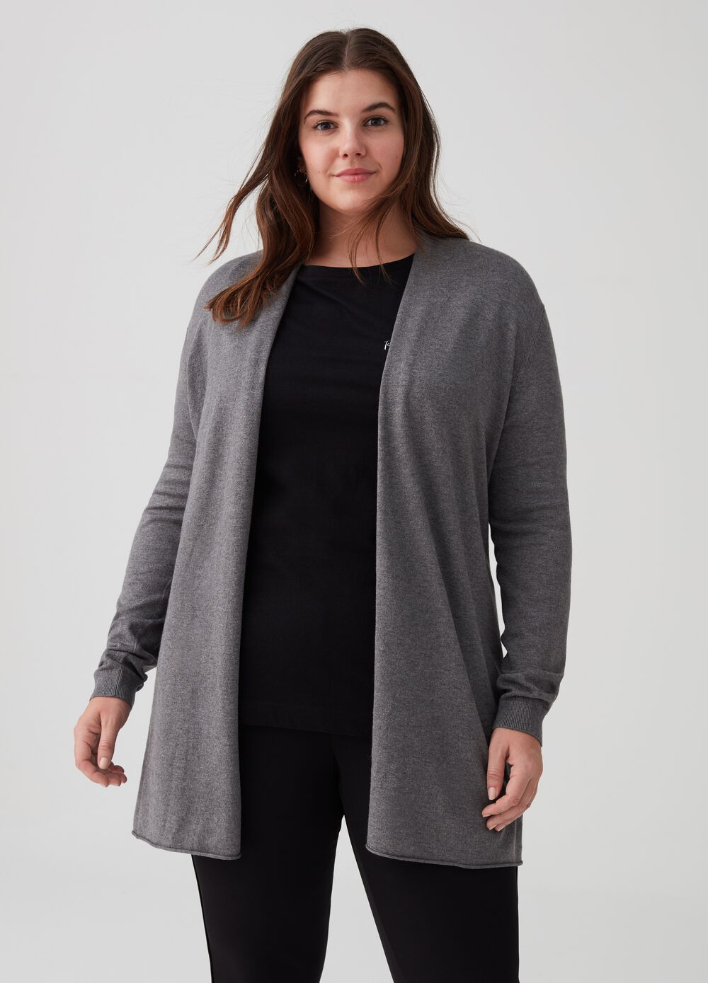 Curvy knit cardigan with ribbing