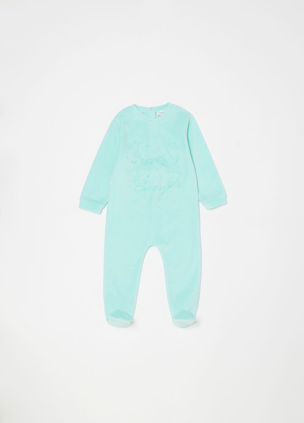 V-neck onesie with feet and print