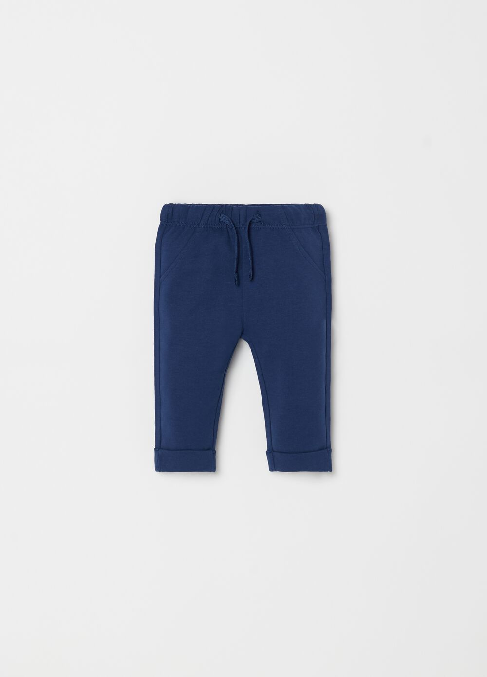 Biocotton fleece trousers with drawstring