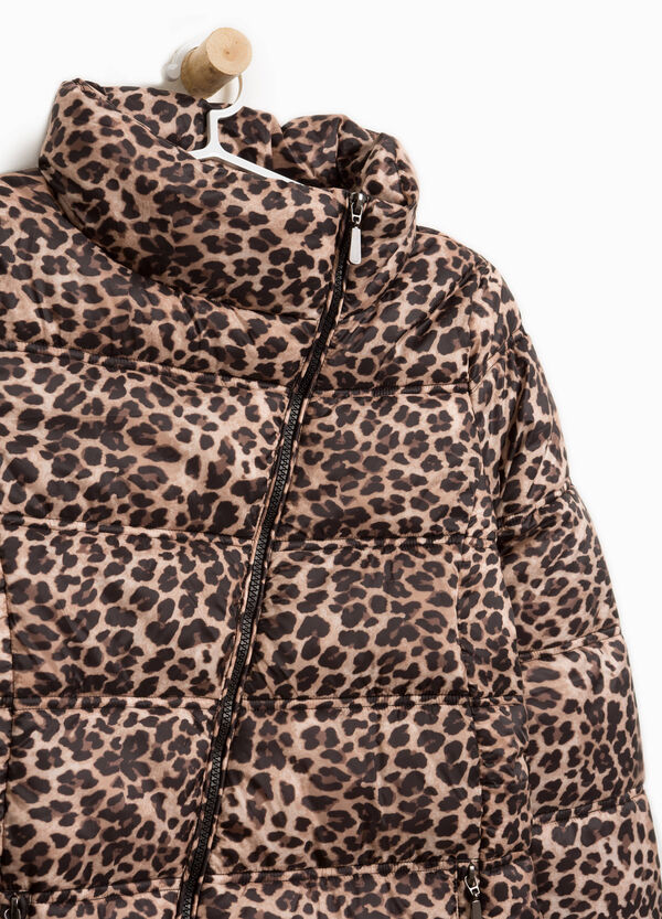 Animal motif down jacket with high neck