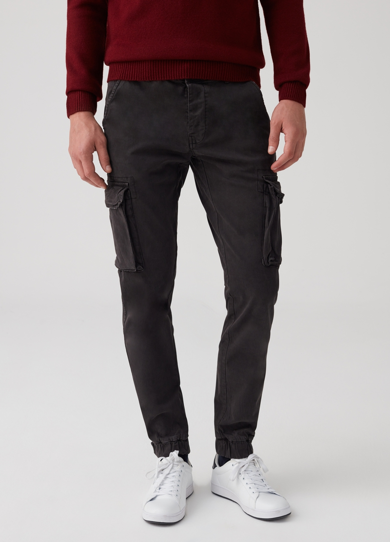 Cargo chino trousers with vintage effect image number null