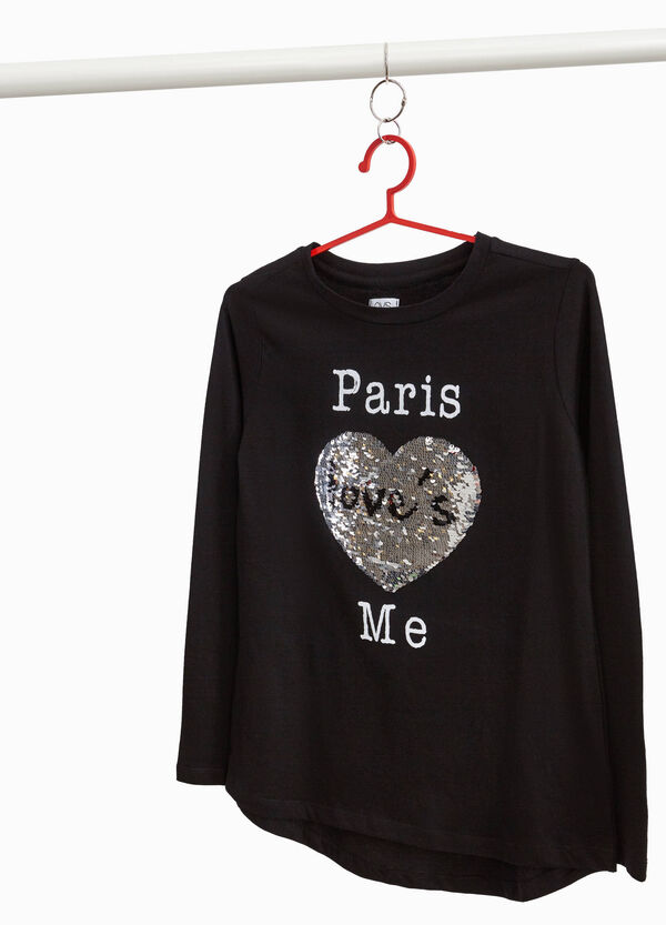 T-shirt with printed lettering and sequins