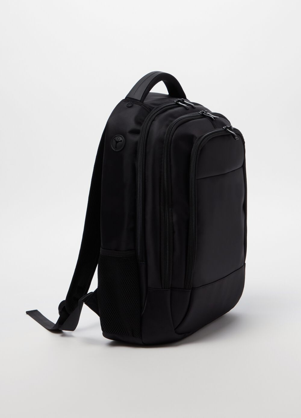 Solid colour backpack with three compartments