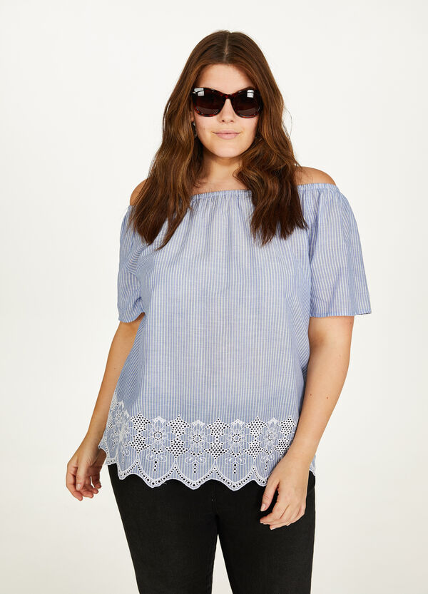 Curvy striped blouse in cotton with embroidery