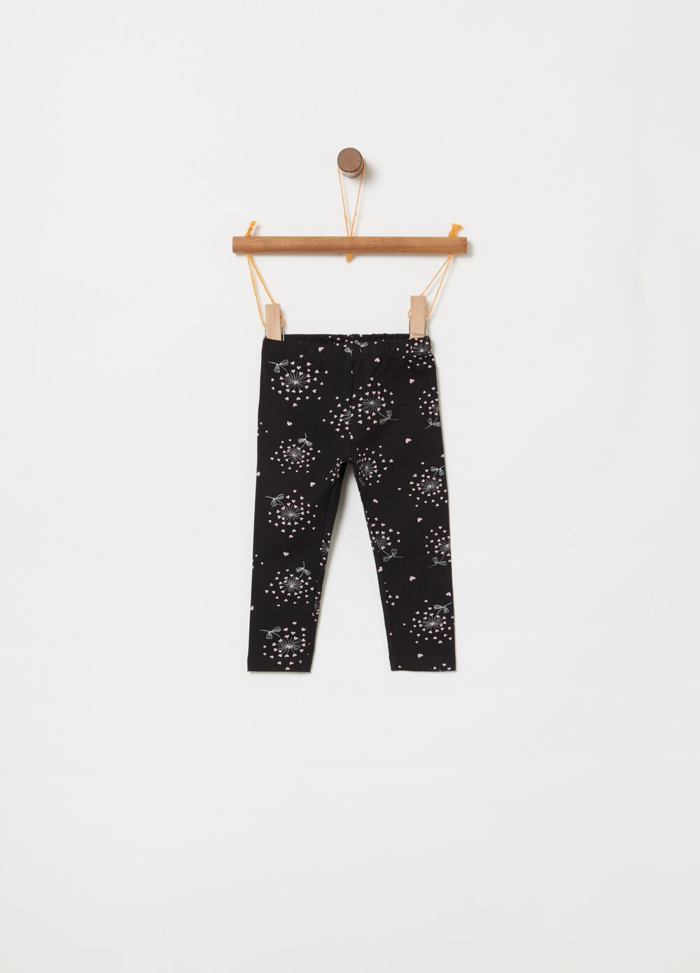Organic cotton leggings with glitter print