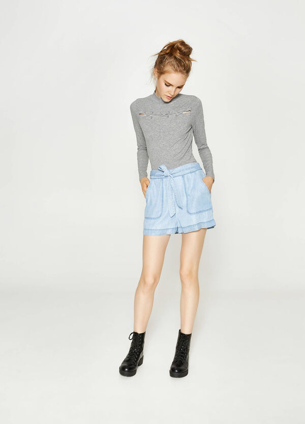 Denim shorts with belt | OVS