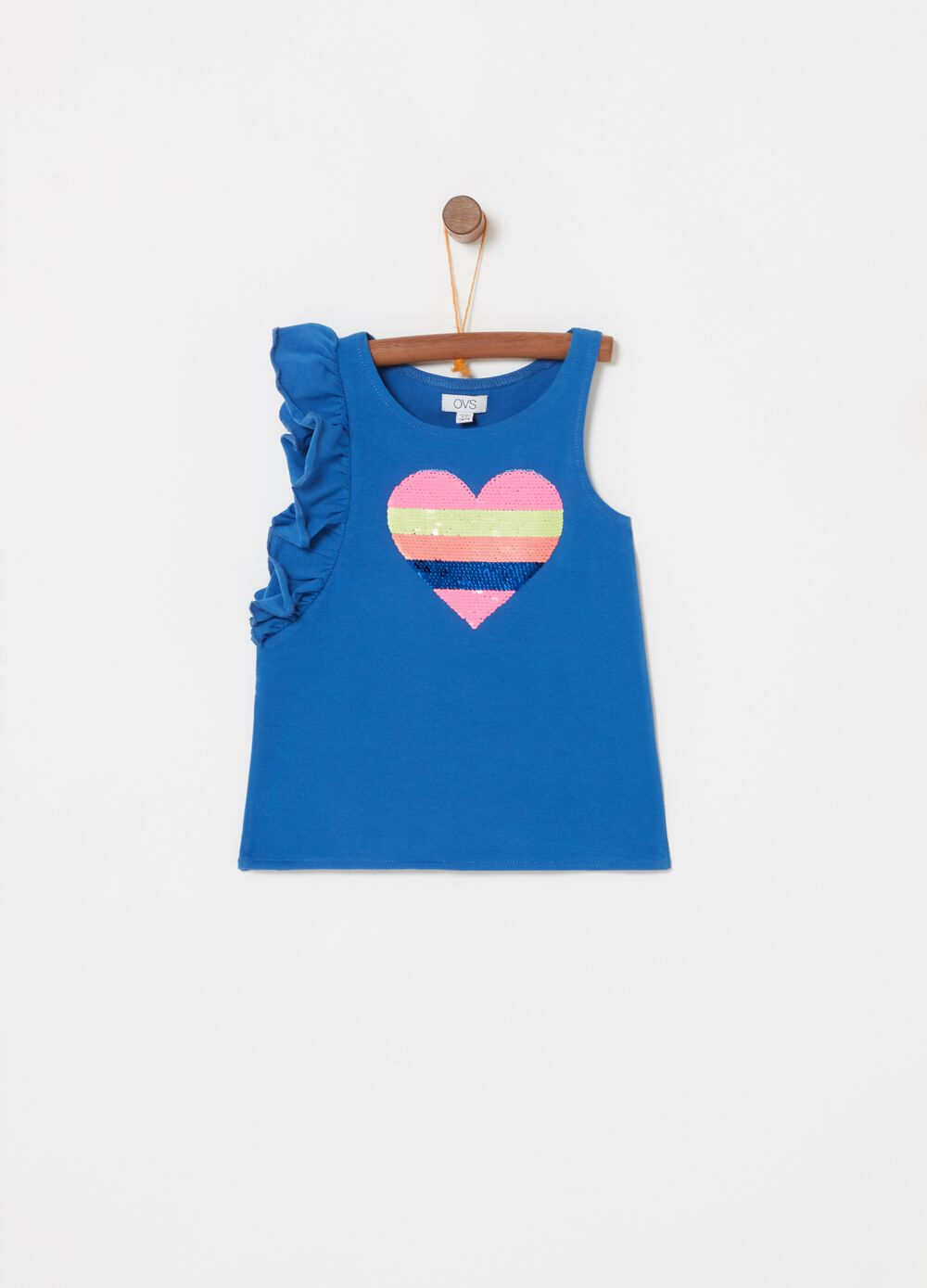Biocotton top with flounce and heart sequins