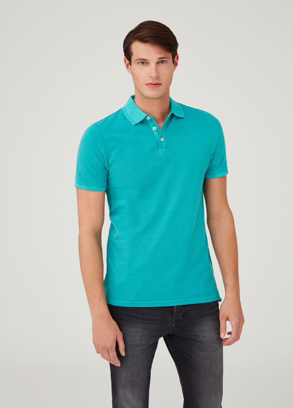 Piquet polo shirt with ribbing and opening