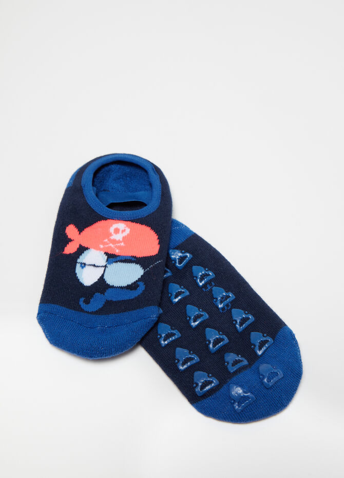 Stretch slipper socks with embroidery