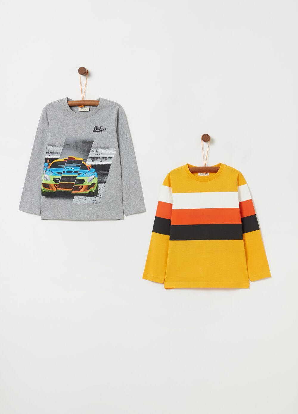 Two-pack printed T-shirts in cotton and viscose
