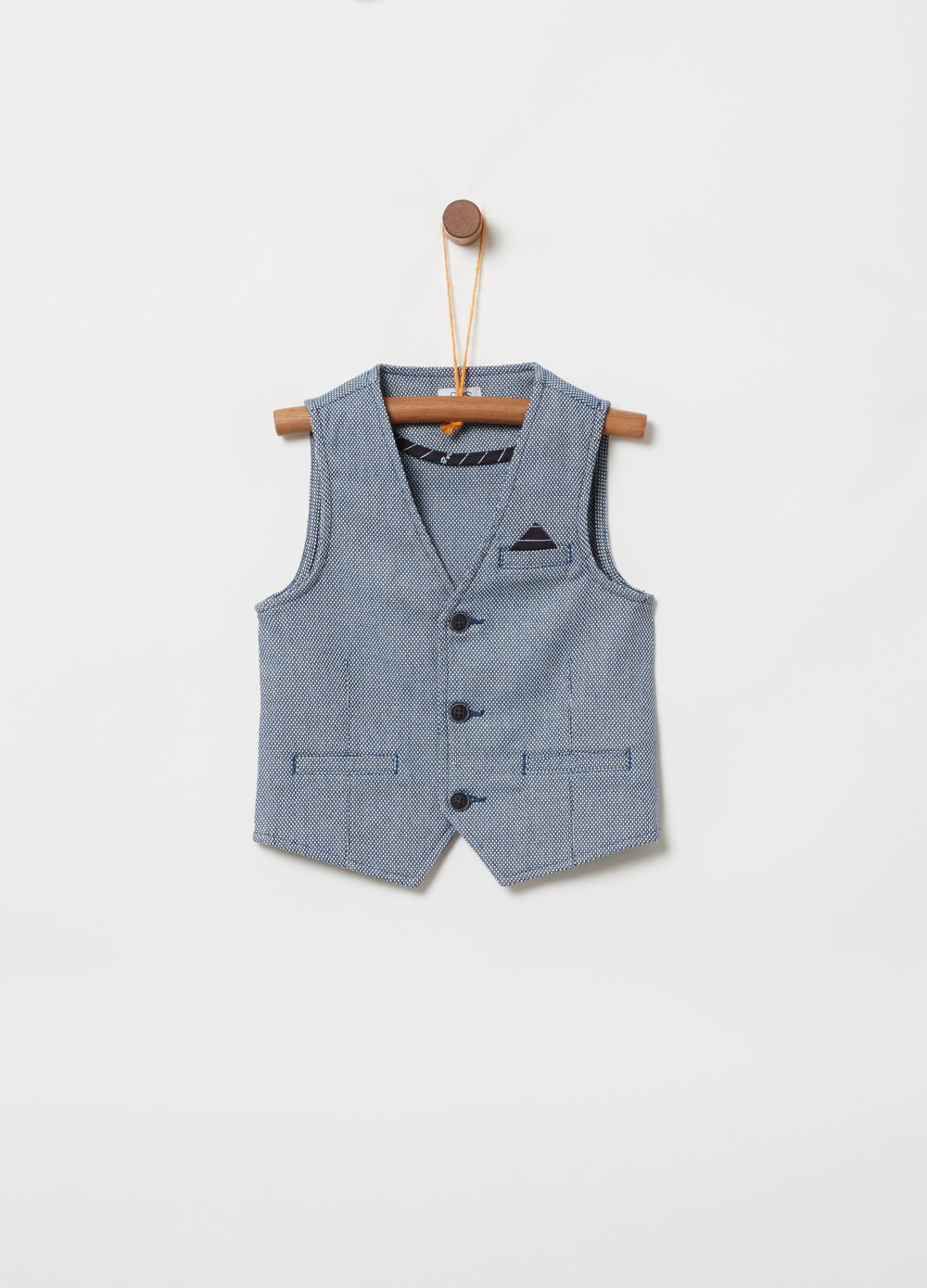 ***Elegant dyed yarn vest with welt pockets