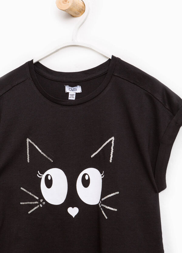 100% cotton T-shirt with cat print | OVS