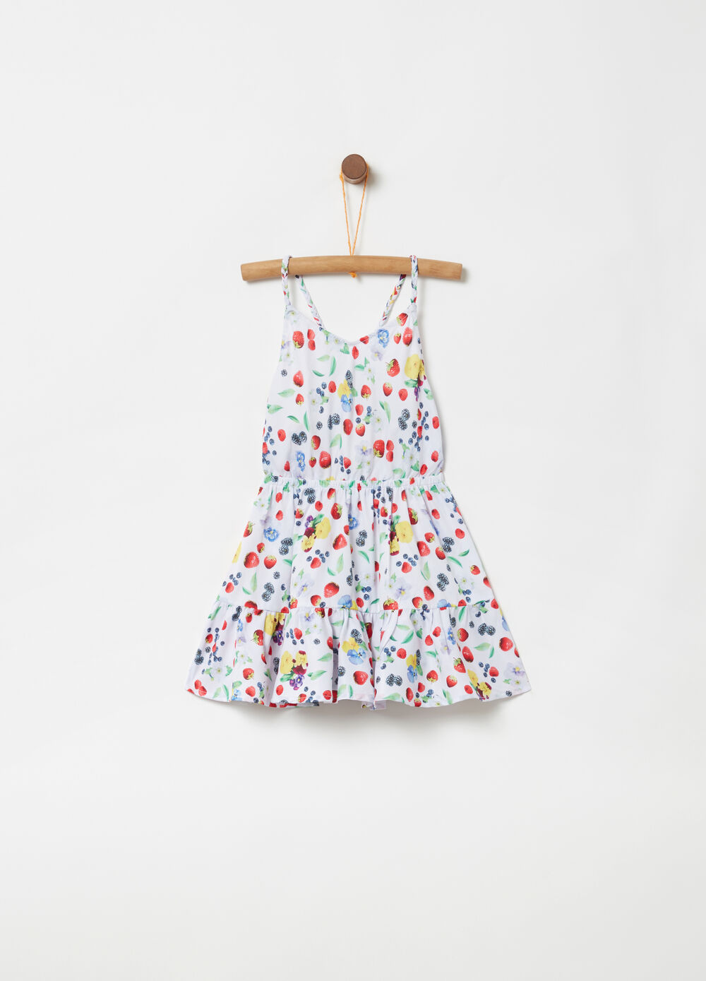 Dress with crossover spaghetti straps and fruit print