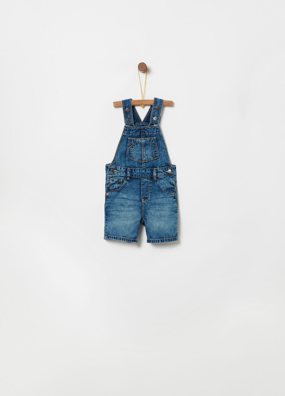 Misdyed-effect denim dungarees with pockets