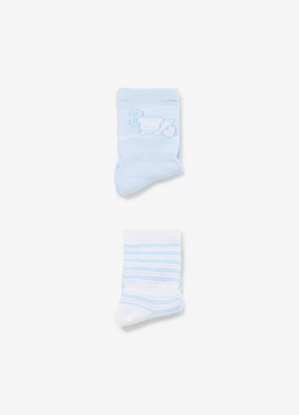 Twin-pair pack solid colour and striped socks