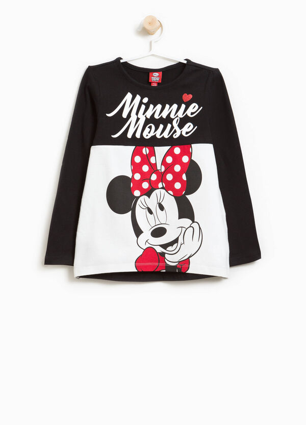 Stretch cotton T-shirt with Minnie Mouse and diamantés
