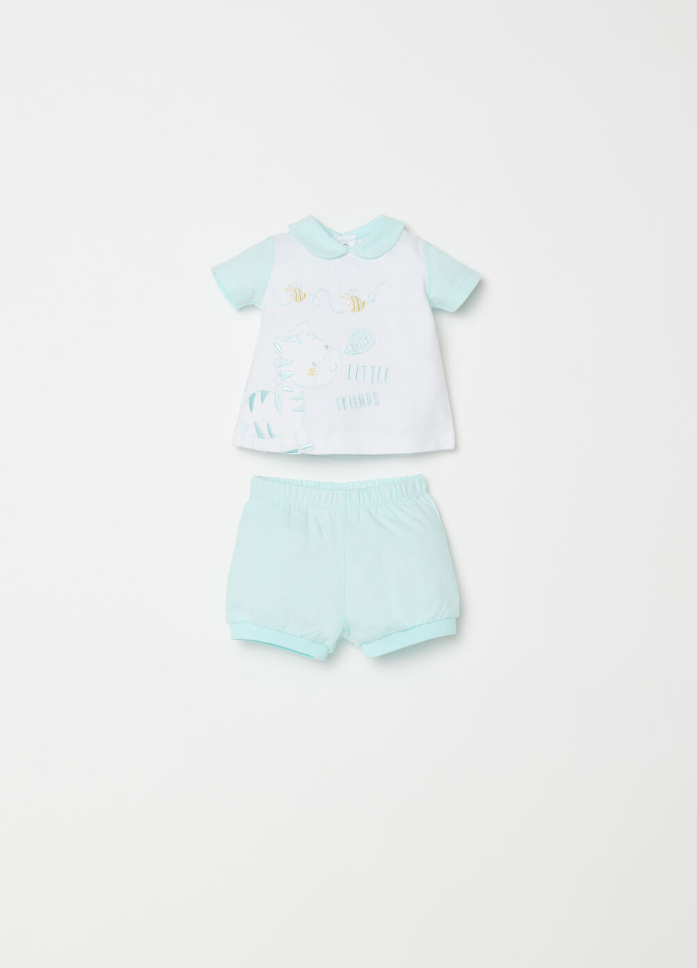 T-shirt and shorts set with embroidery and applications