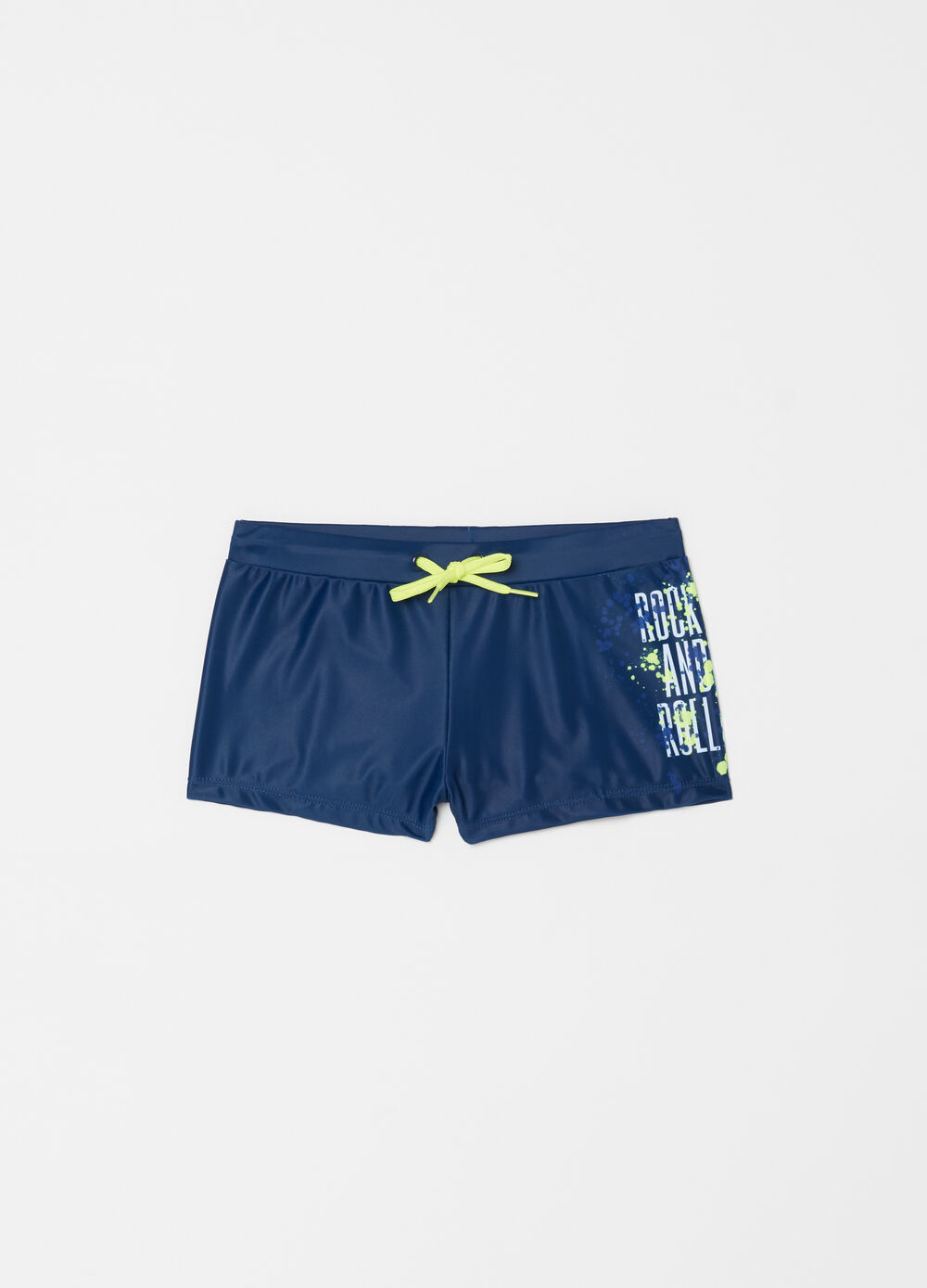 Stretch beach boxer shorts with print and drawstring