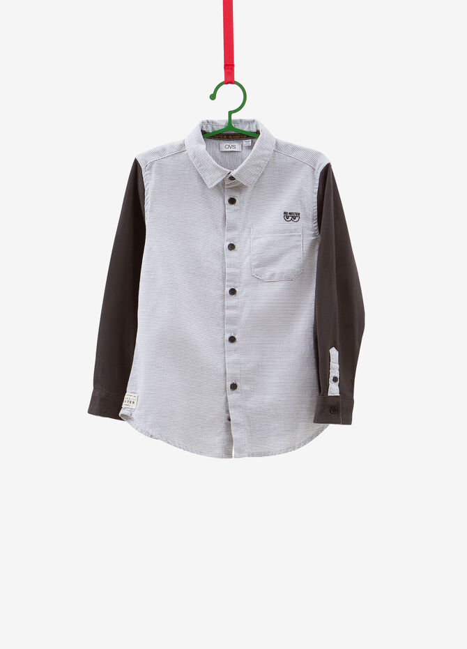 100% cotton shirt with micro-pattern patch
