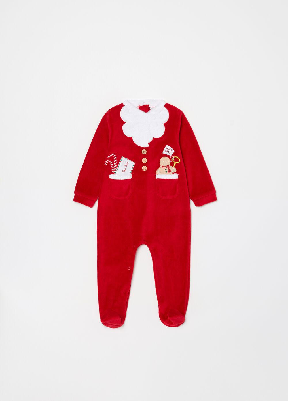 Onesie with feet and Father Christmas embroidery