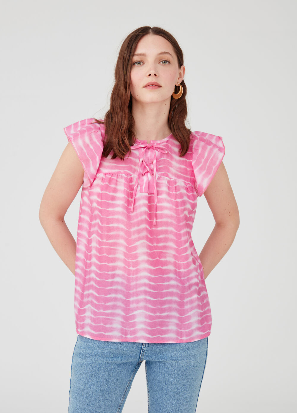 Blouse with striped capped sleeves