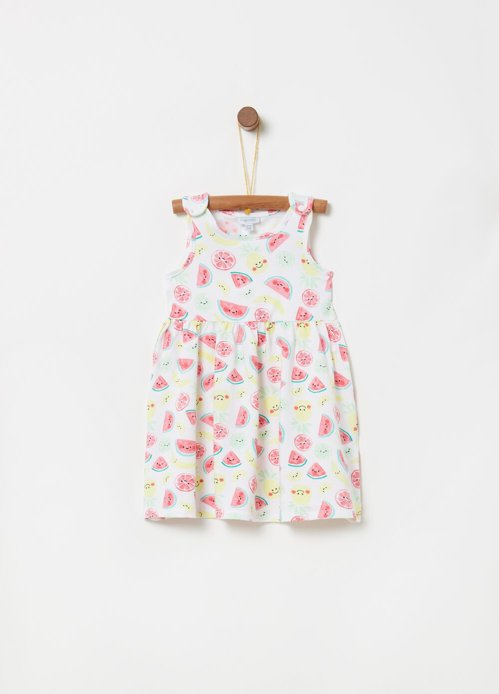 Dress with pleated skirt and fruit print