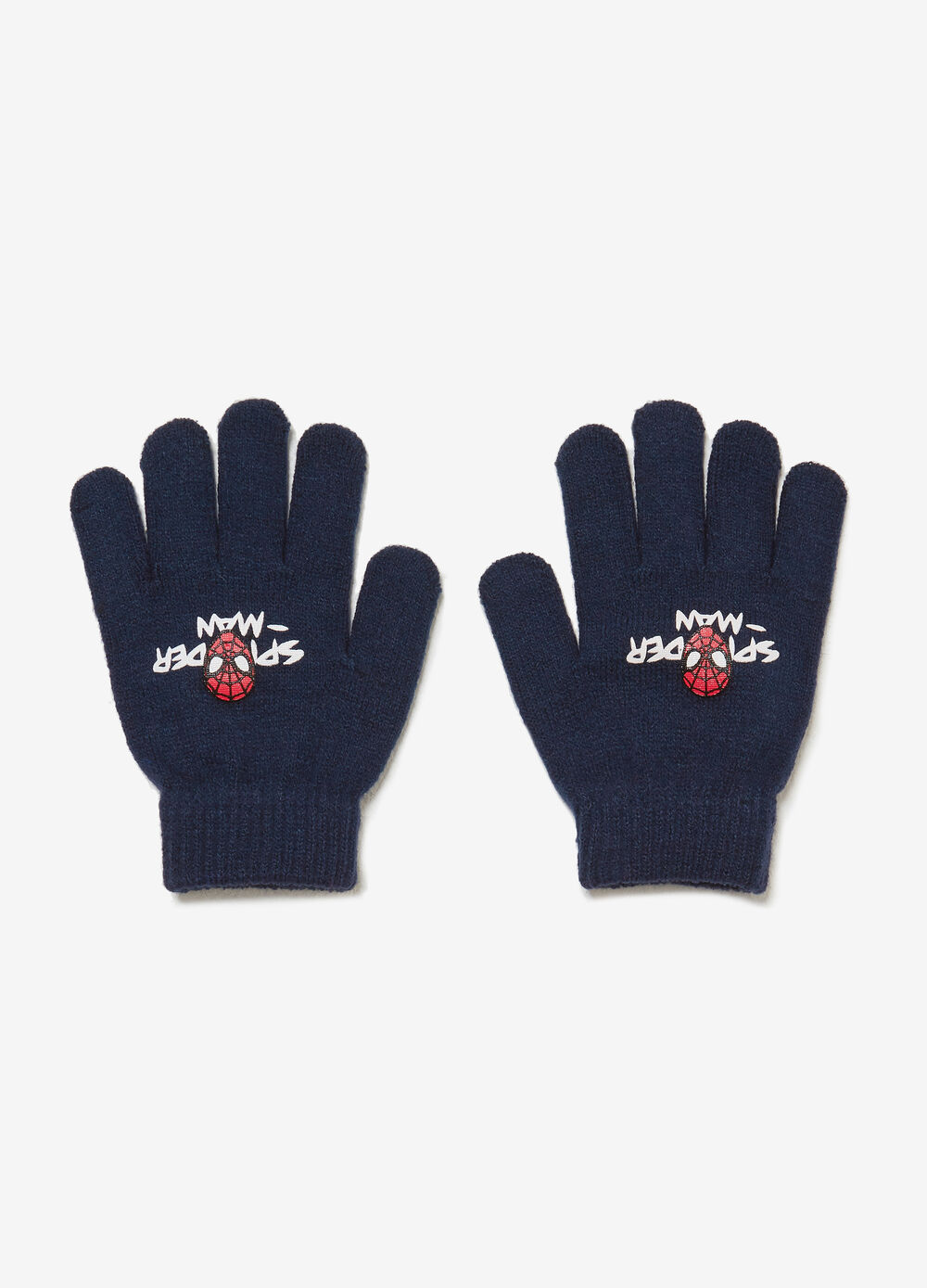 Knitted gloves with Spiderman print
