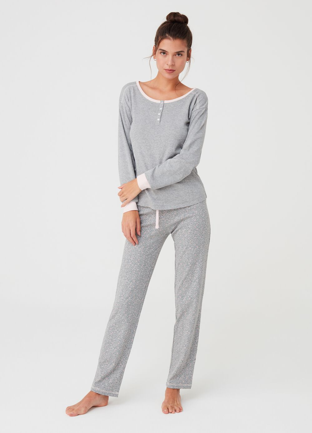 Trousers in mélange organic cotton and viscose