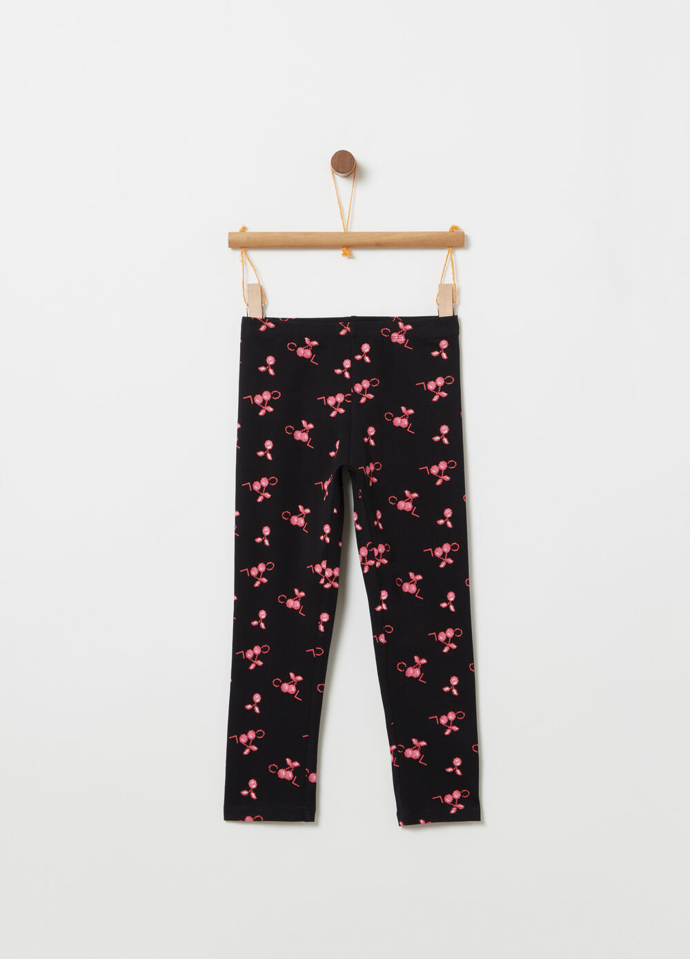 Three-quarter leggings with all-over print