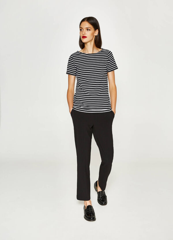 Stretch cotton T-shirt with stripes
