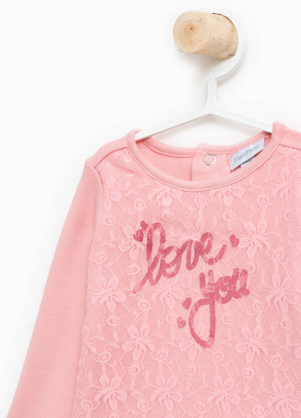 T-shirt in 100% cotton with print and lace | OVS