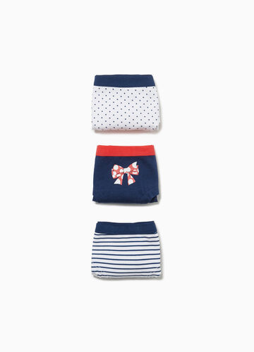 Three-pack stretch French knickers with patterned print