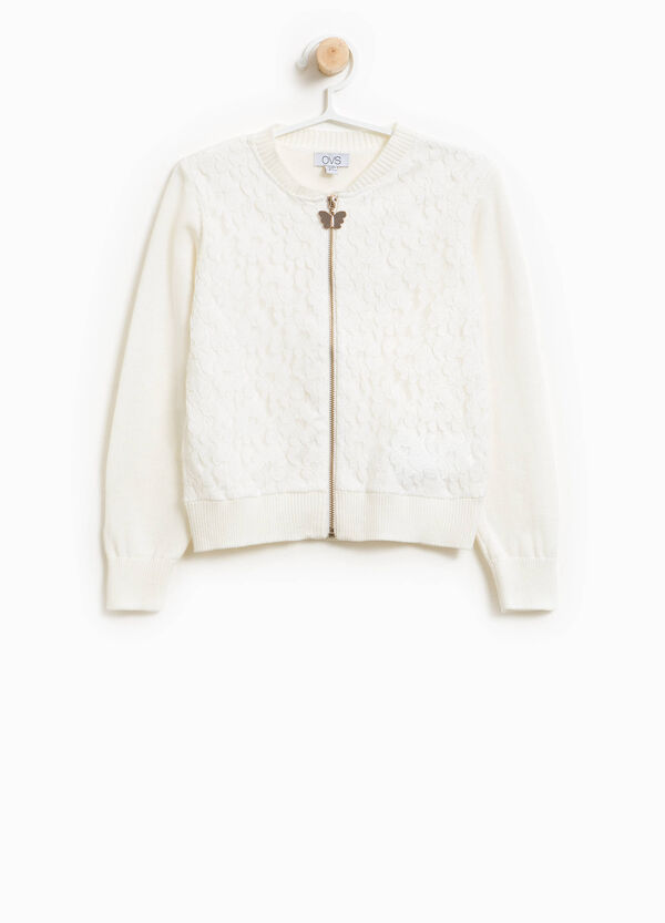 Wool blend cardigan with lace | OVS