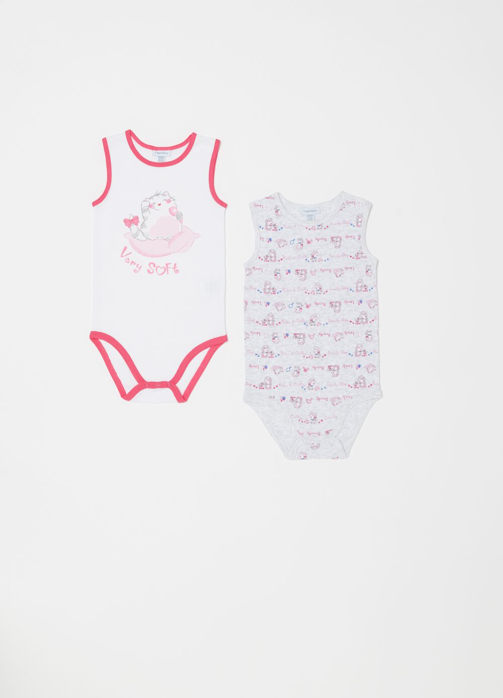 Two-pack sleeveless biocotton bodysuits