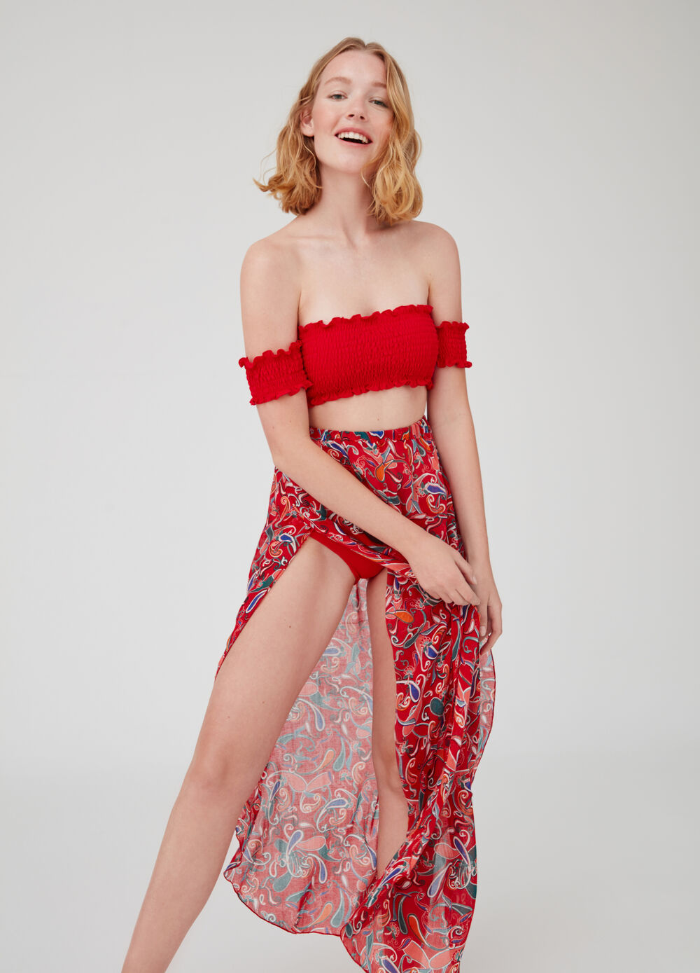 Long paisley and floral beach wrap with elasticated waist