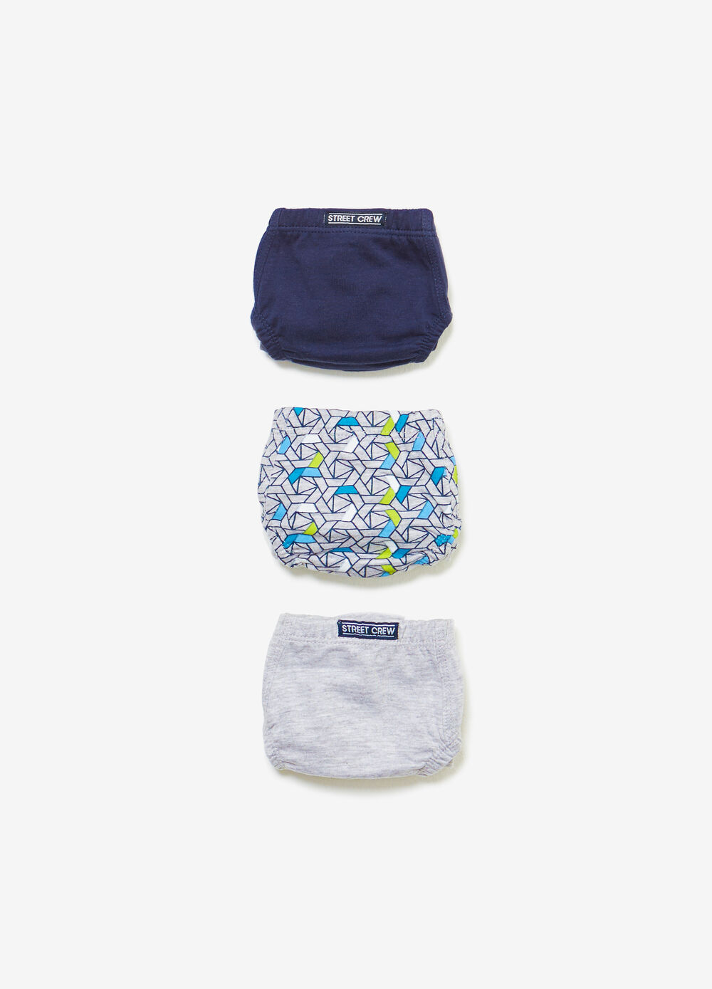 Three-pack cotton solid colour and patterned briefs