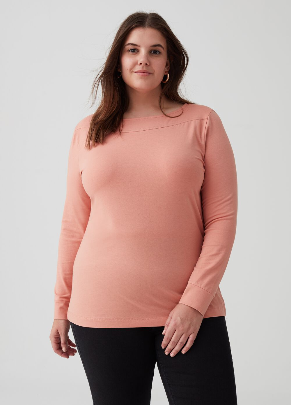 Curvy stretch cotton ribbed T-shirt