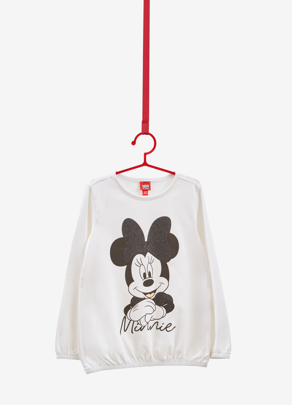 Stretch cotton T-shirt with Minnie Mouse print